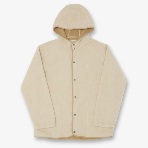 [GRAMICCI] BOA FLEECE HOODED COACHES JACKET IVORY
